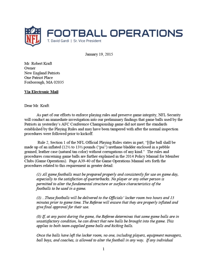 NFL Letter to the Patriots